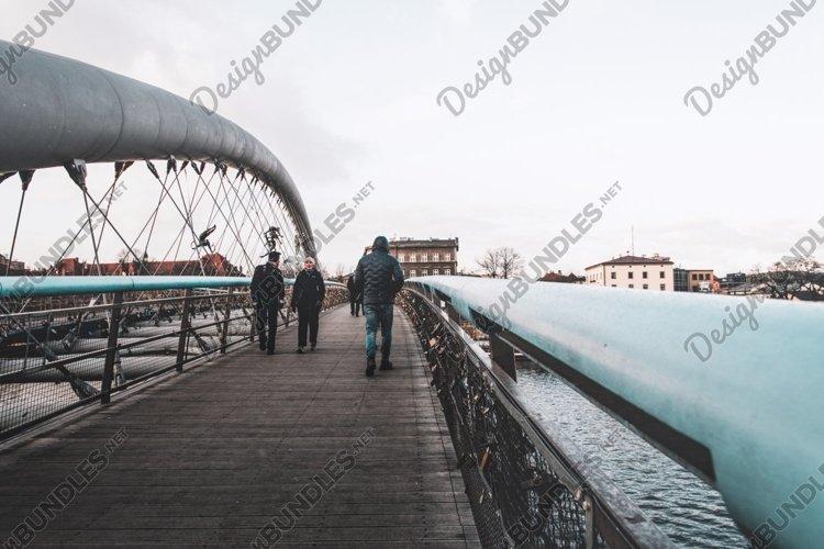 Padlocks on a suspension pedestrian bridge in Krakow, Poland example image 1