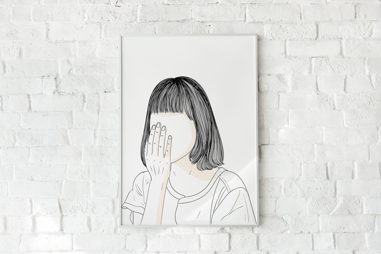 Art Print | The image of the girl's face covering her face example image 1