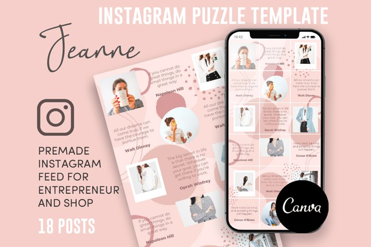 Jeanne, Pink Style Instagram Puzzle Feed, 18 Posts example image 1