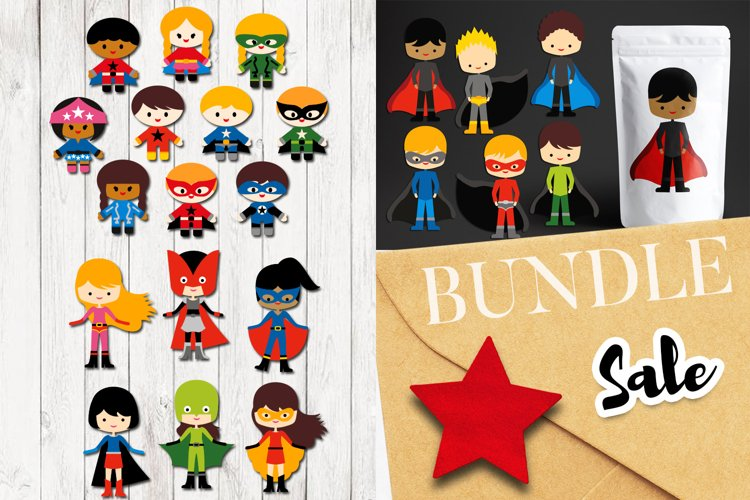 Superhero clipart bundle, boys and girls example image 1