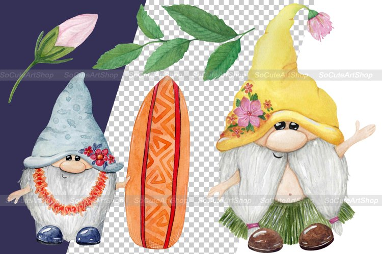 Watercolor Luau party PNG clipart, summer beach clipart example 9