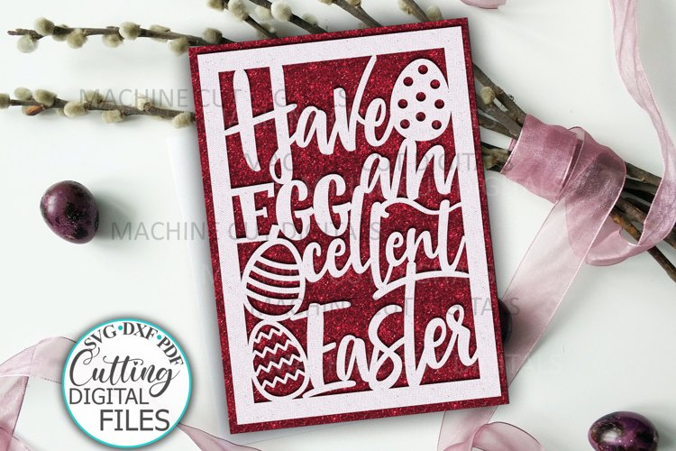 Funny Easter card svg cut out template papercutting