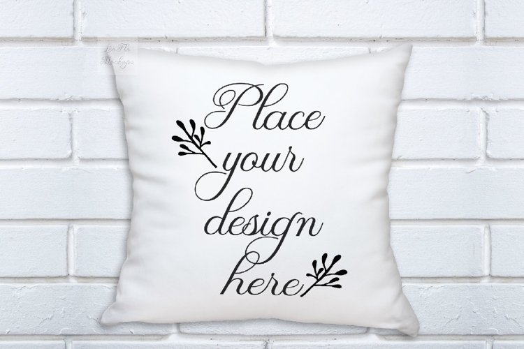 psd White pillow square mockup template white background example image 1