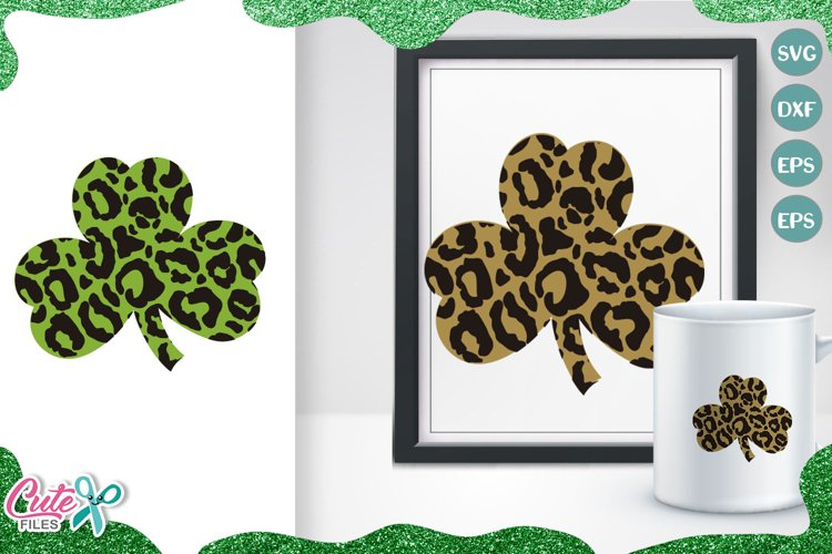 Leopard clover, St Patricks day svg cut files example image 1