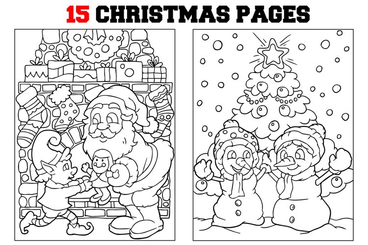 Coloring Pages For Kids - 15 Christmas Pages example image 1