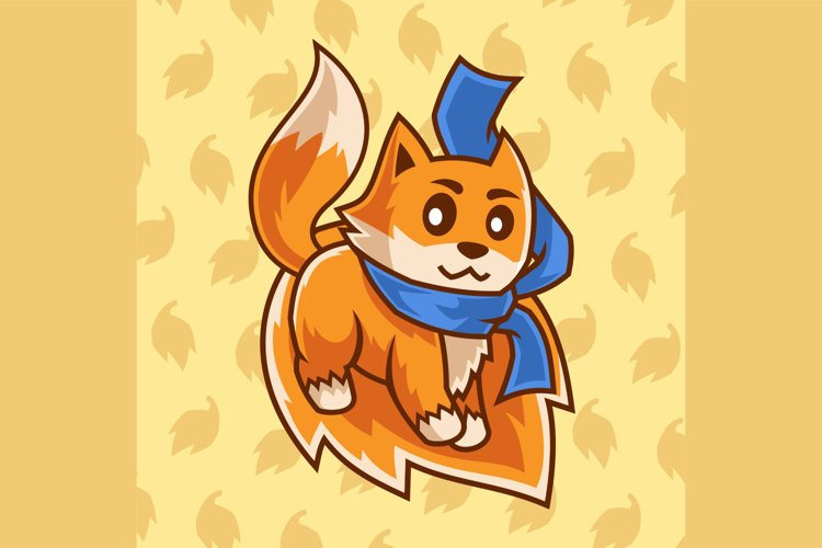 cartoon character Fox stand on a leaf illustration example image 1