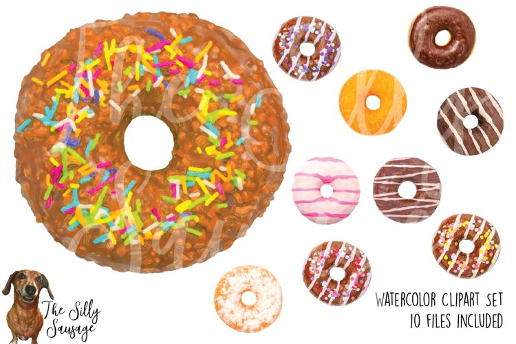 Donuts Watercolor Clipart example image 1