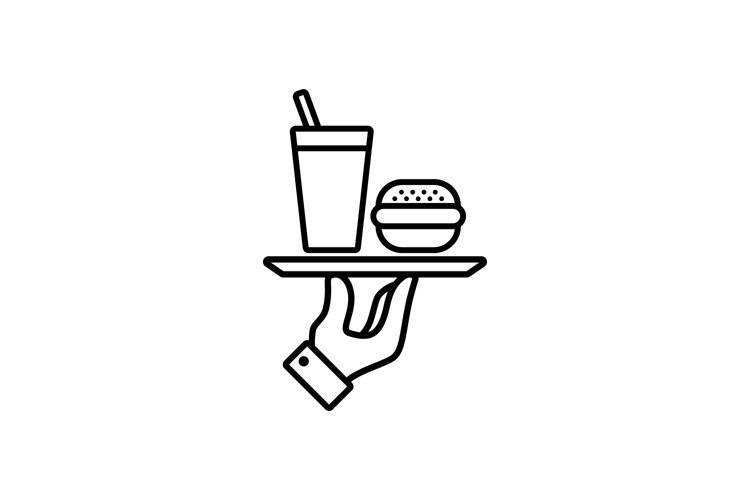 Hand holding tray with fast food. Line icon. Burger. example image 1