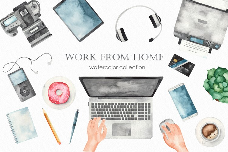 Work from home Watercolor clipart. Seamless patterns, frame example image 1