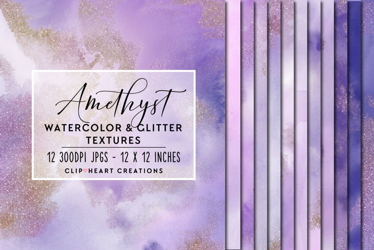 Purple Glitter Watercolor Digital Papers example image 1