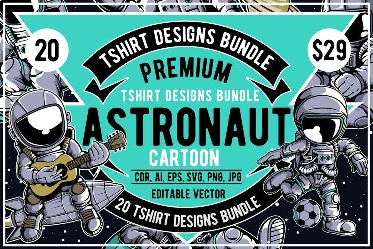 20 Astronaut Cartoon Tshirt Designs Bundle
