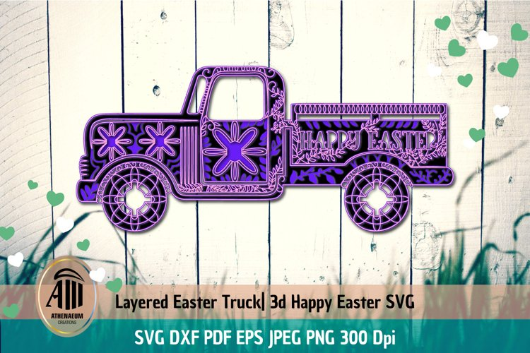 3d Layered Easter Truck|Layered Truck Mandala|3d Truck example image 1