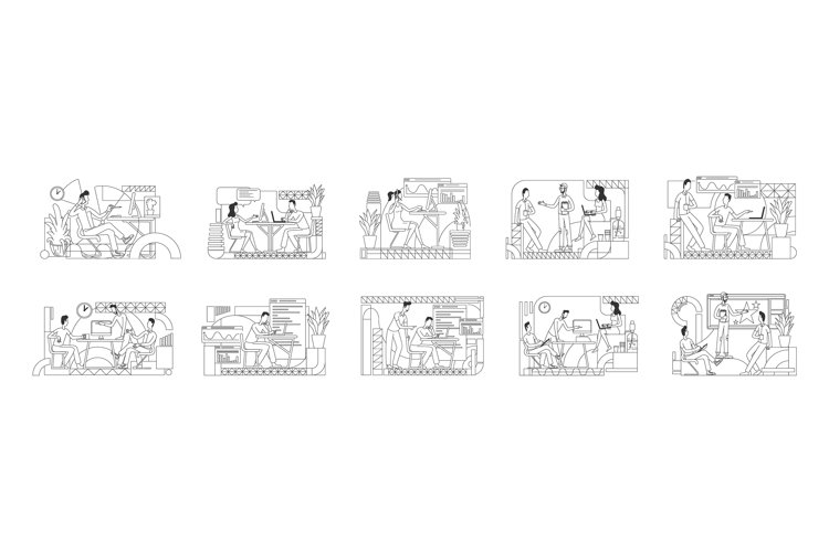 Office employees coworking linear vector illustrations set example image 1