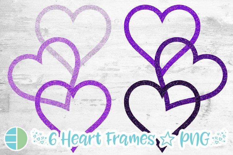 Mardi Gras Purple Glitter Heart Frame Sublimation Bundle example image 1