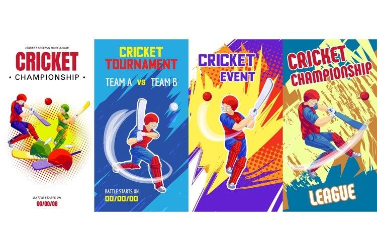 Cricket banner set, cartoon style example image 1