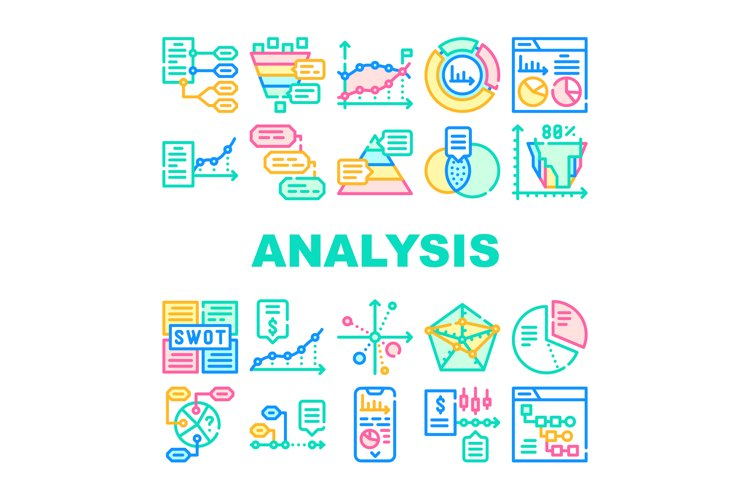 Data Analysis Diagram Collection Icons Set Vector example image 1