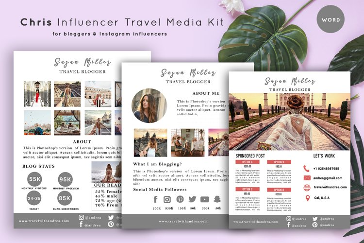 Chris Travel Media Kit Template | 3-Pages |Influencer Travel