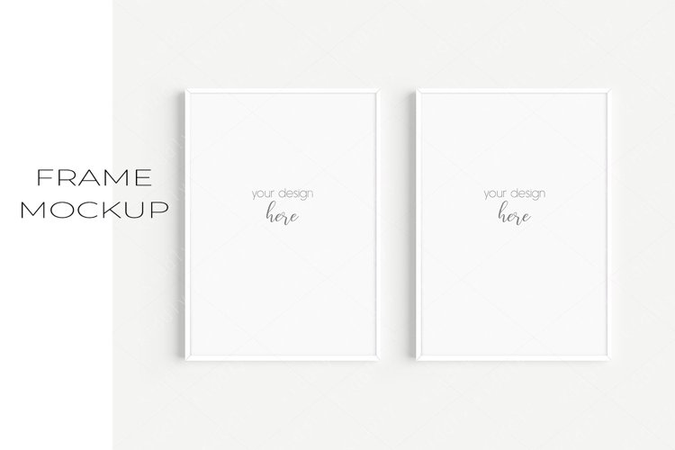 A4 White Frame Mockup Set of 2/JPG PNG PSD Smart Object/M114 example image 1