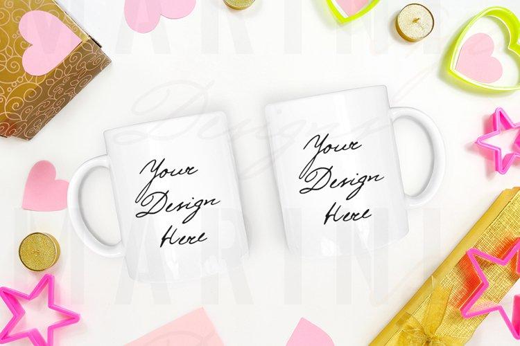 Valentines day two mugs mockup, 2 white mugs mockup 1182