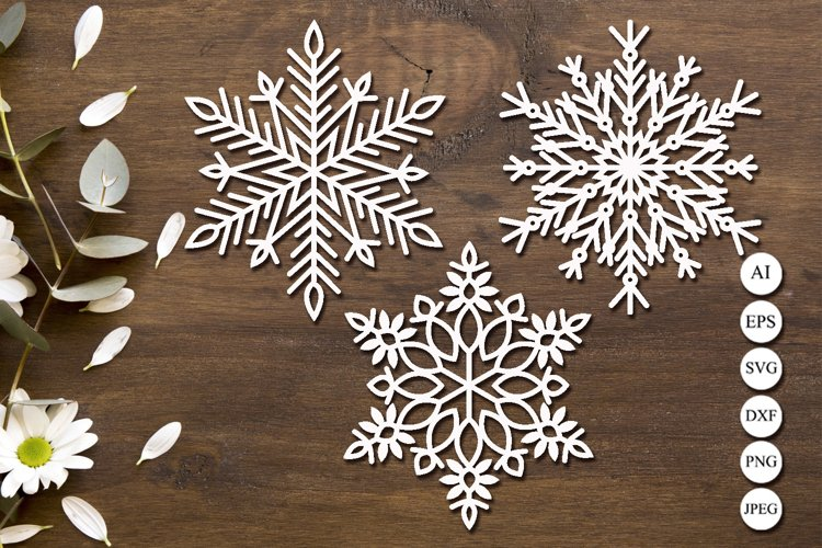 Snowflake svg laser cut, Christmas clipart, Monogram example image 1