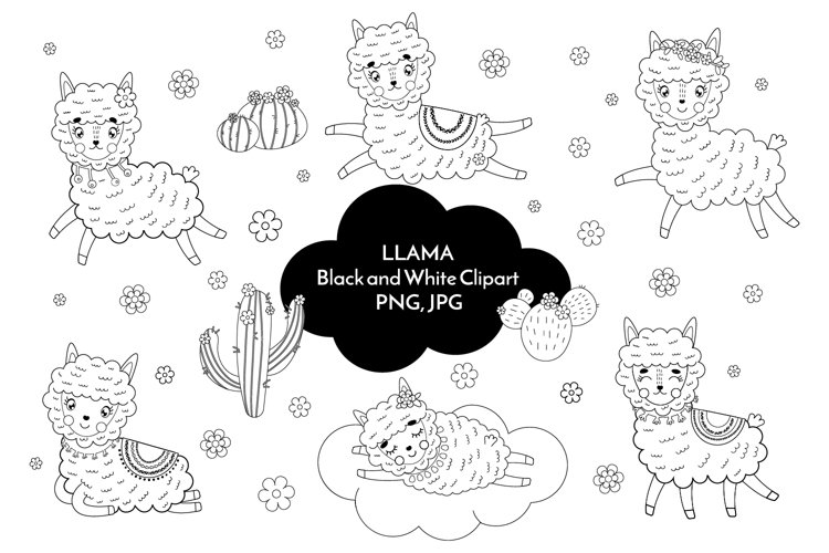 Llama black and white clipart PNG 35