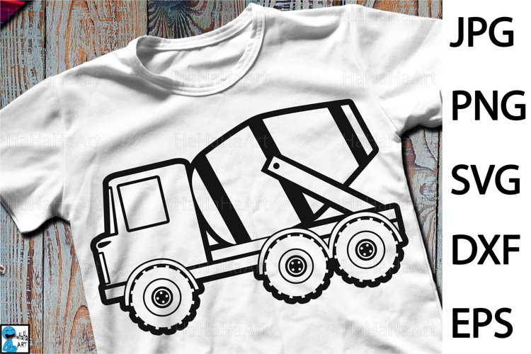 Distress Cement Truck - Clip art / Cutting Files 1287c example image 1