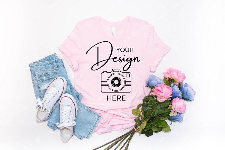 Bella Canvas Mockup 3001 Soft Pink T-shirt Mockup Spring example image 1