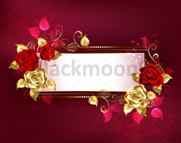 Rectangular Banner with Red Roses example image 1