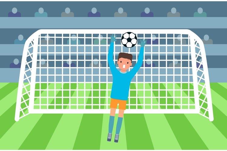 Soccer goalkeeper on stadium concept, flat style. example image 1