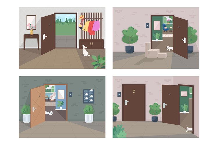 Home delivery service flat color vector illustration set example image 1