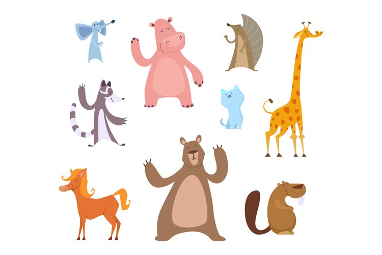 Vector cartoon illustrations of funny animals example image 1