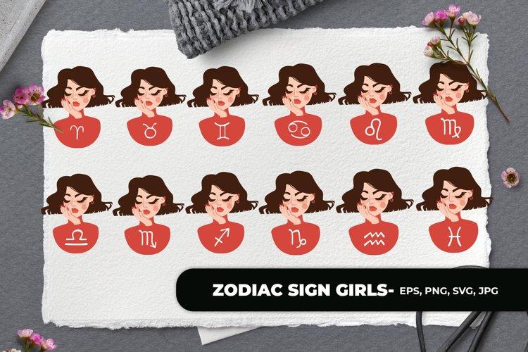 Zodiac Sign Bundle Girls - Vector Illustration SVG & Sticker