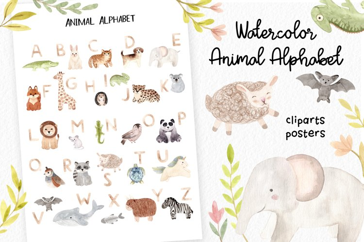 Watercolor Animal Alphabet. Cliparts Poster and Patterns example image 1