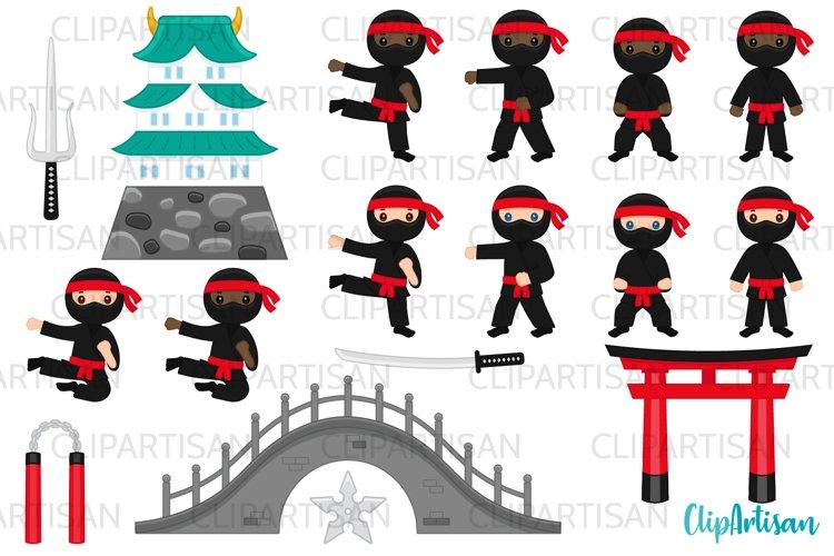 Ninja Clipart, Cute Ninjas Clip Art example image 1
