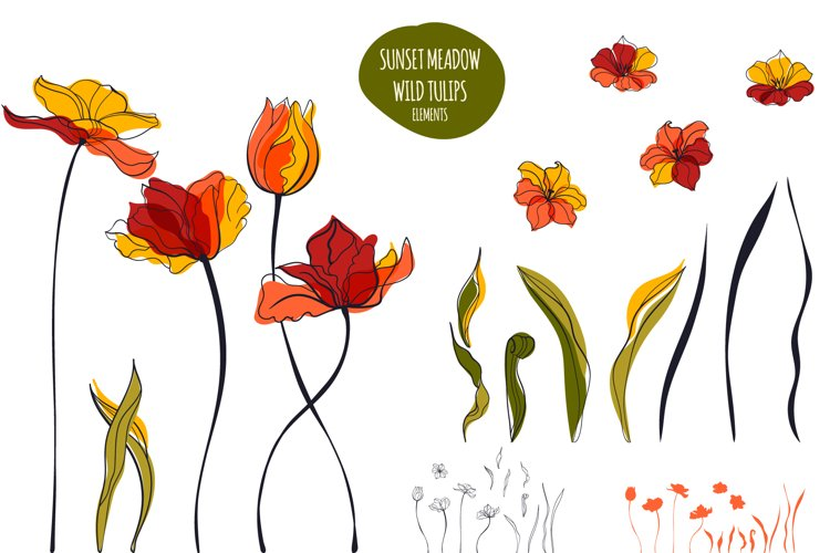 Sunset Meadow of Tulips example image 1