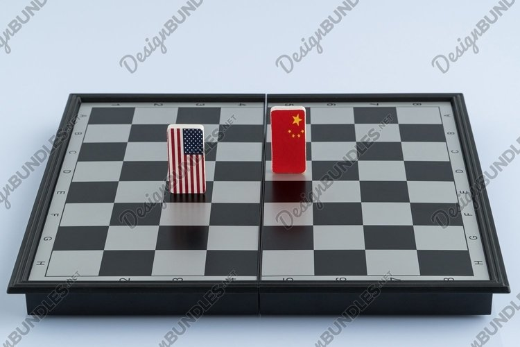 Symbols of the flag of the USA and China on the chessboard example image 1