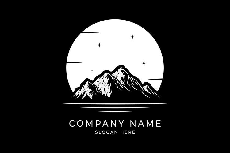Sea Lake River Mountain Landscape Silhouette logo design example image 1