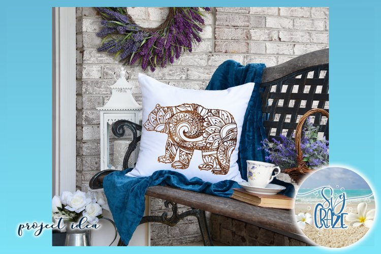 Bear Mandala Zentangle SVG Dxf Eps Png Cricut Silhouette example 1