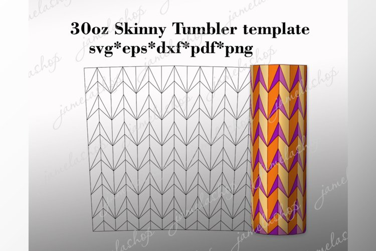 30 oz skinny tumbler template, Arrows tangram pattern svg