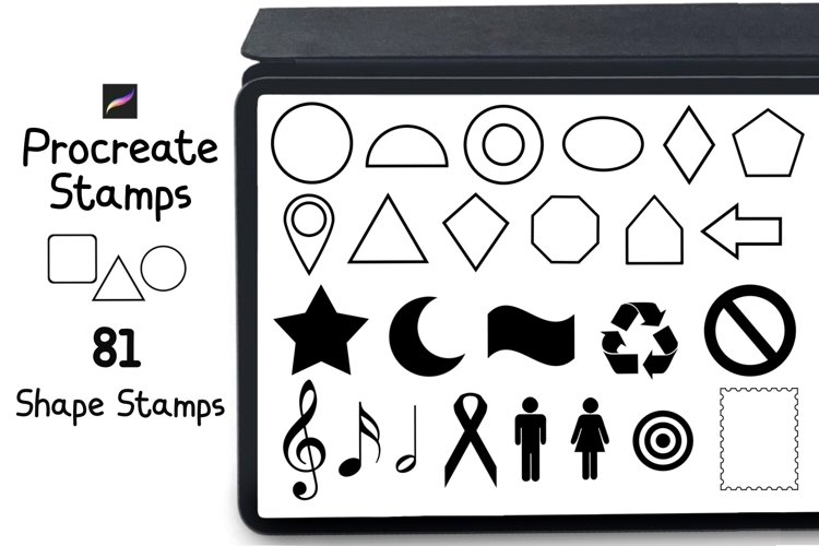 Procreate Stamps 81 Shape and Symbol Stamps example image 1