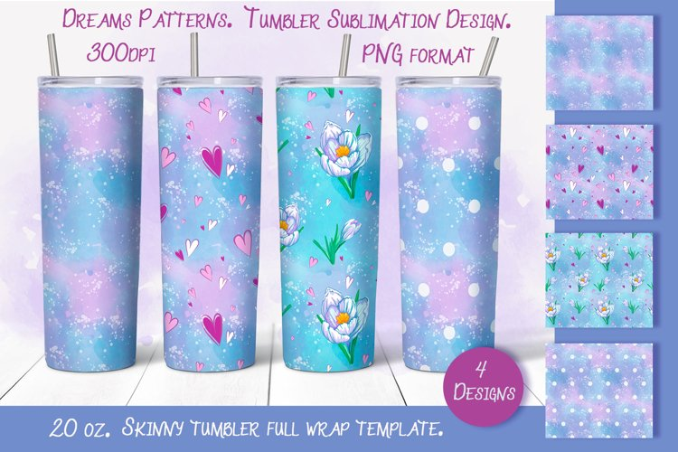 Dreams Patterns. Tumbler sublimation design example image 1