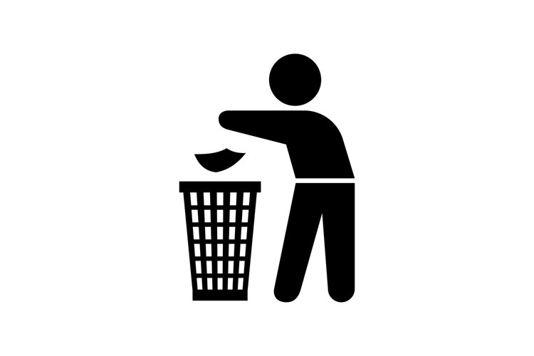 Man throwing trash silhouette example image 1