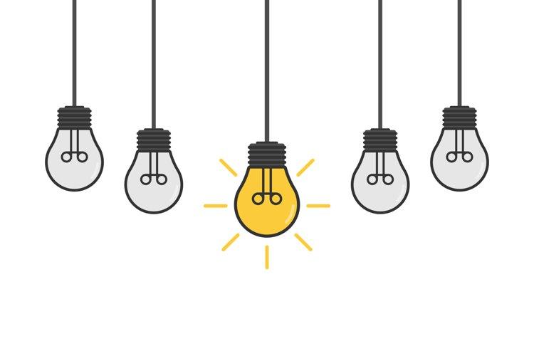 Cartoon lamps. Bulb light icon - idea sign, solution. example image 1