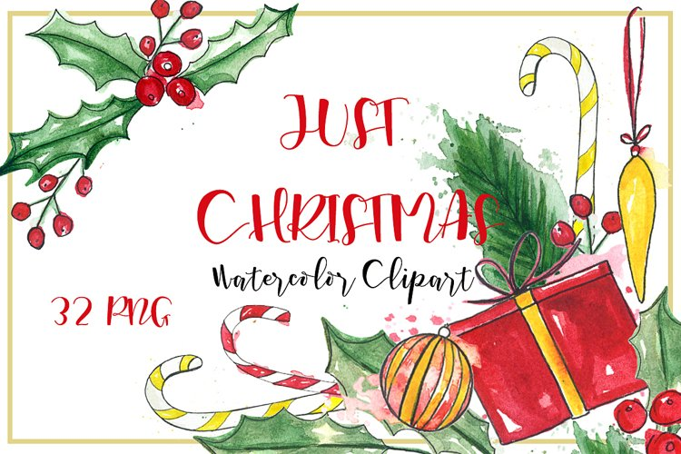 Just Christmas. Watercolor clipart. example image 1