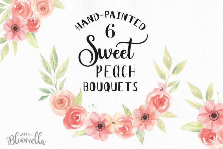 Watercolor Sweet Peach Clipart Bouquets Flowers Flowers Summer Florals