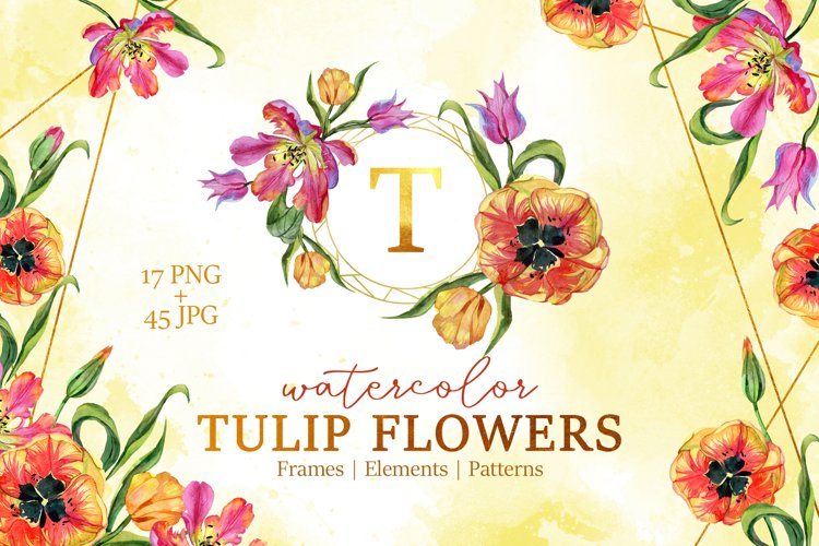 Super Tulip red flowers Watercolor png example image 1