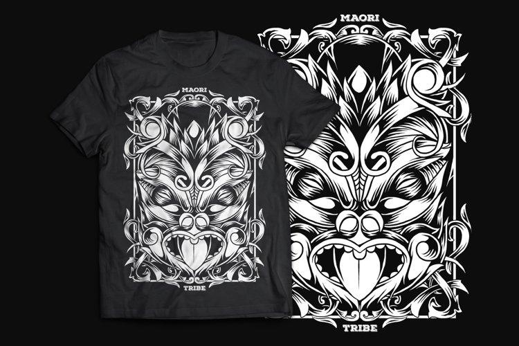 Maori Mask T-Shirt Design example image 1