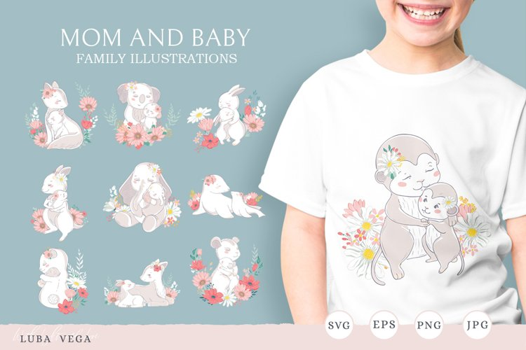 Family illustration / Mom and baby