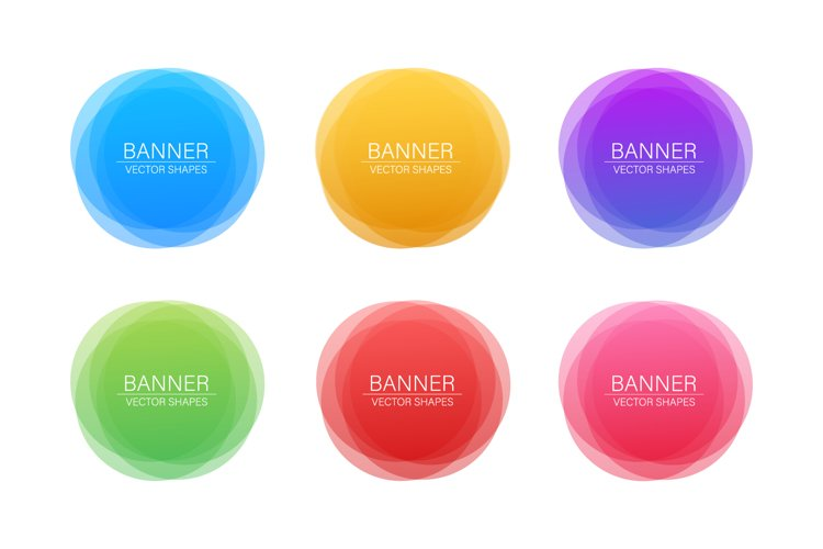 Set of round colorful vector shapes. Abstract vector banners