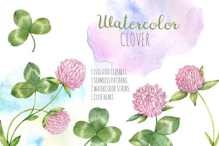 Watercolor cliparts set. Pink clover flowers and leaves example image 1